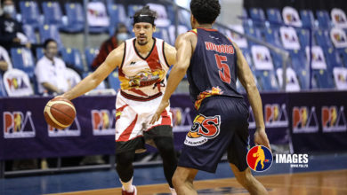 Photo of Rey Nambatac dagger trey saves Rain or Shine from late San Miguel fightback